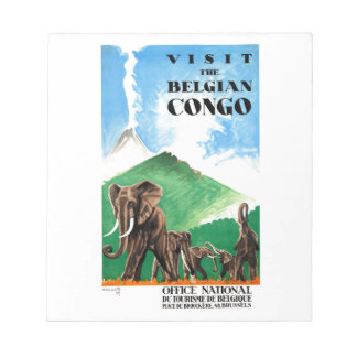 1939 Belgian Congo Elephants Travel Poster Notepad