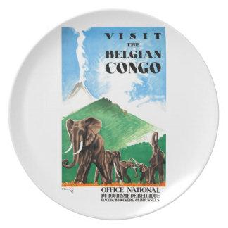 1939 Belgian Congo Elephants Travel Poster Party Plates