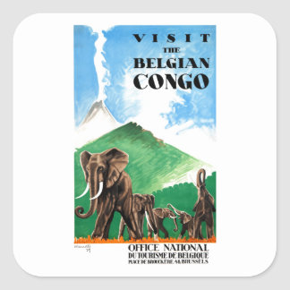 1939 Belgian Congo Elephants Travel Poster Square Sticker