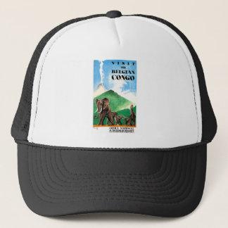 1939 Belgian Congo Elephants Travel Poster Trucker Hat