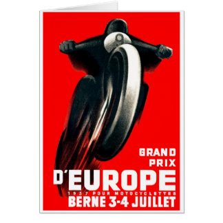 1939 European Grand Prix Motorcycle Racing Poster Card