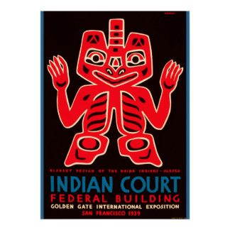 1939 Golden Gate World Expo Indian Court Ad copy Poster