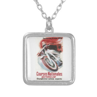 1939 Swiss National Motorcycle Racing Championship Silver Plated Necklace