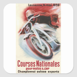 1939 Swiss National Motorcycle Racing Championship Square Sticker