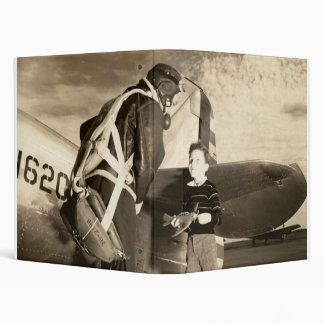 1940 American military pilot and young boy Vinyl Binder