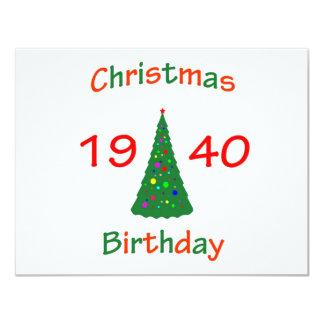 "1940 Christmas Birthday 4.25"" X 5.5"" Invitation Card"