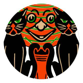 "1940 Vintage Halloween Black Cats 5.25"" Square Invitation Card"