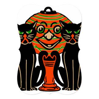 "1940 Vintage Halloween Black Cats 5"" X 7"" Invitation Card"