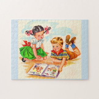 1940s adorable girl and boy and picture book jigsaw puzzle