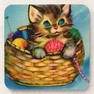 1940s adorable kitten in knitting basket drink coasters