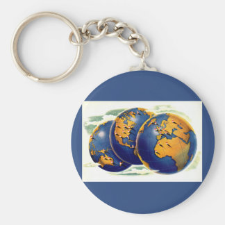 1940s as the world turns three views of earth keychain
