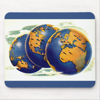 1940s as the world turns three views of earth mouse pad