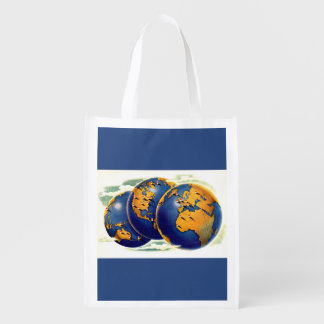 1940s as the world turns three views of earth reusable grocery bag
