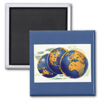 1940s as the world turns three views of earth square magnet