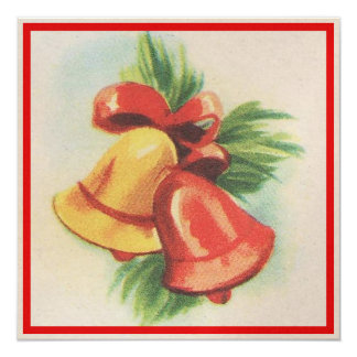 "1940s Christmas Bells 5.25"" Square Invitation Card"