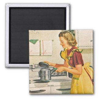 1940s Cooking Housewife Square Magnet