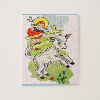 1940s cute little girl with cute little lamb jigsaw puzzle