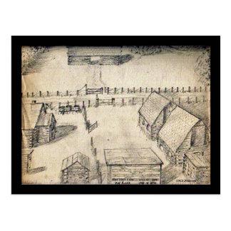 1940s Farm Sketch Postcard