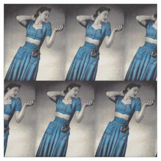 1940s fashion photobare  midriff style print fabric