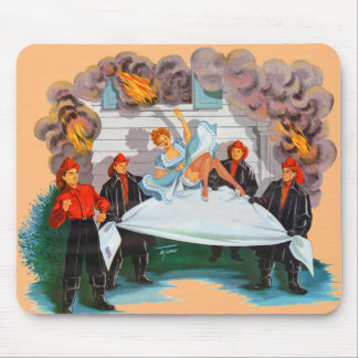 1940s firefighters rescue pretty lady mouse pad