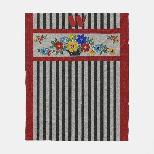 1940s Flowers and Stripes - Monogrammed Fleece Blanket