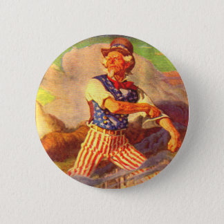 1940s heroic Uncle Sam rolls up his sleeves 2 Inch Round Button