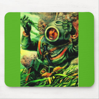 1940s illustration undersea diver in diving helmet mouse pad