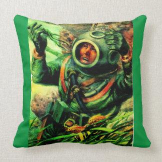 1940s illustration undersea diver in diving helmet throw pillow