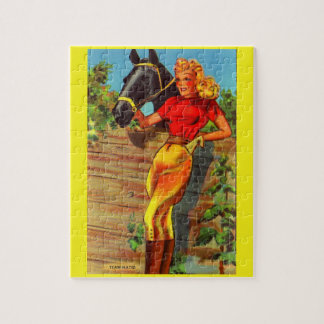 1940s pin-up gal and horse jigsaw puzzle