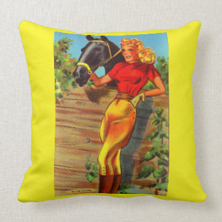 1940s pin-up gal and horse print throw pillow