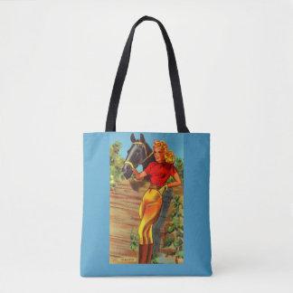 1940s pin-up gal and horse print tote bag