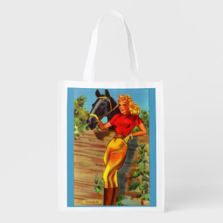 1940s pin-up gal and horse reusable grocery bag
