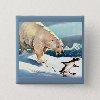 1940s polar bear and penguin 2 inch square button