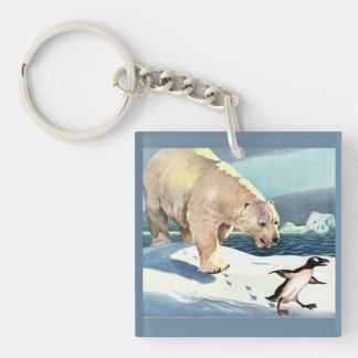 1940s polar bear and penguin keychain