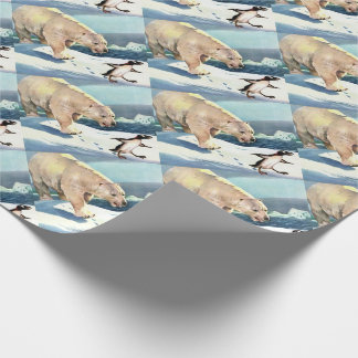 1940s polar bear and penguin wrapping paper