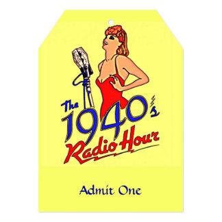 "1940s Radio Hour 5"" X 7"" Invitation Card"