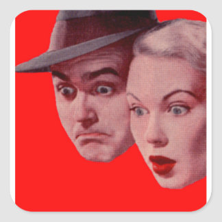 1940s Sherman and Marsha are SURPRISED Square Sticker