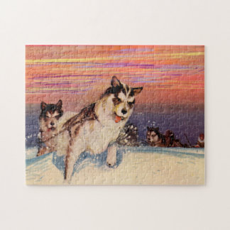 1940s Siberian husky sled dogs doing their thing Jigsaw Puzzle