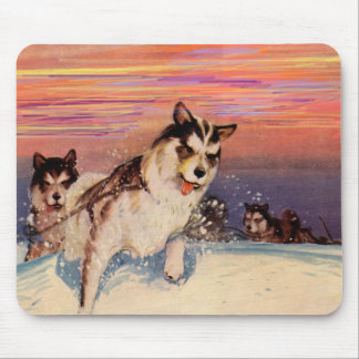 1940s Siberian husky sled dogs doing their thing Mouse Pad