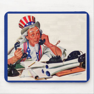 1940s Uncle Sam on the phone Mouse Pad