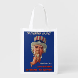 1940s warning from Uncle Sam Reusable Grocery Bag