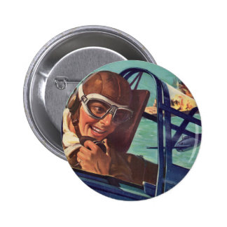 1940s WWII dogfight in the air 2 Inch Round Button