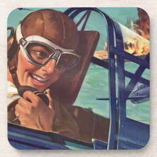 1940s WWII dogfight in the air Drink Coasters