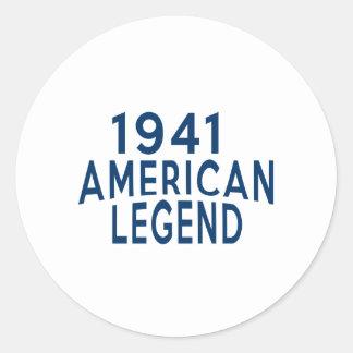 1941 American Legend Birthday Designs Round Sticker