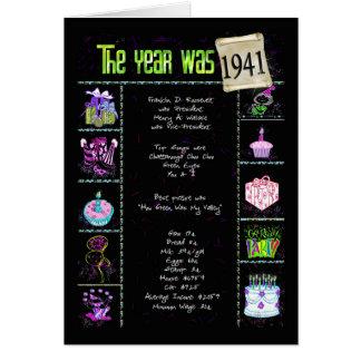1941 Birthday Fun Facts Card