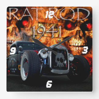 1941 Rat Rod Pickup with skulls on fire Square Wall Clock