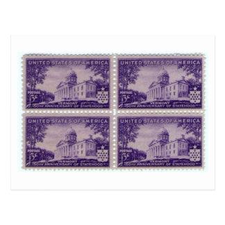 1941 Statehood Stamp, Vermont Vintage Postcard