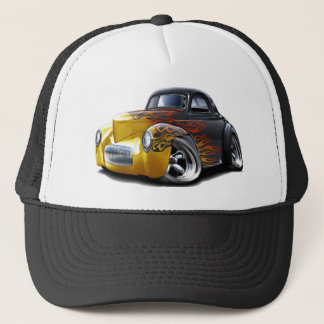 1941 Willys Black-Flames Car Trucker Hat