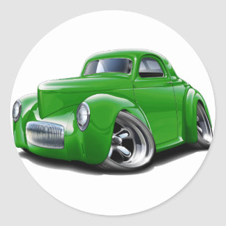 1941 Willys Green Car Round Sticker