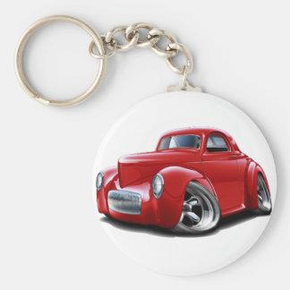 1941 Willys Red Car Keychain